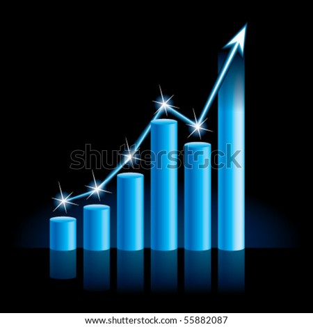 Illustration of growing bull trend chart - stock vector