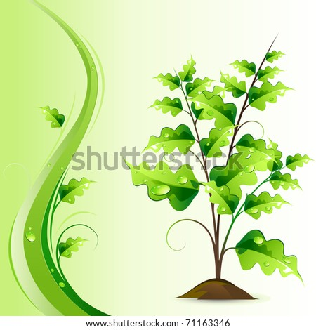 illustration of growing green tree on abstract background - stock vector