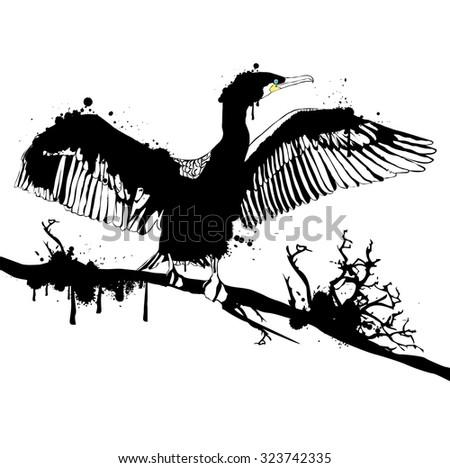 Illustration of Grunge Black Hop off Cormorant Over White Background - stock vector