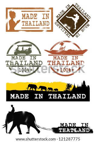 Illustration of grunge rubber stamp with symbolic of Thailand, Vector