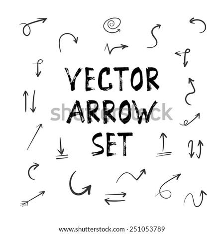 Illustration of Grunge Sketch Handmade Watercolor Doodle Arrow Set - stock vector
