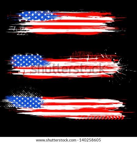 illustration of Grungy American Flag Banner for Independence Day - stock vector