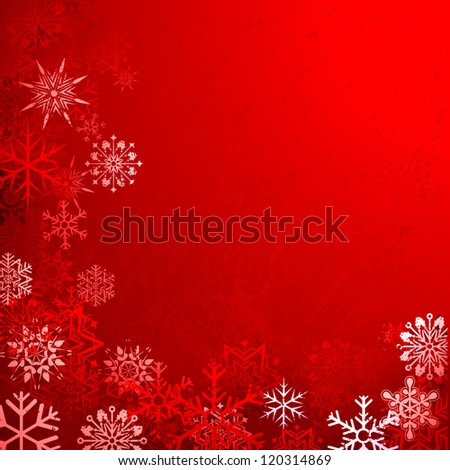 illustration of grungy Christmas background with snowflakes - stock vector