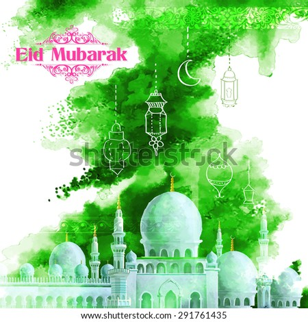 illustration of Grungy Eid Mubarak (Happy Eid) Background with mosque - stock vector
