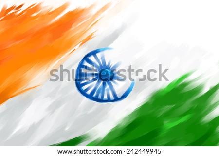 illustration of grungy Indian Flag for Indian Republic Day - stock vector