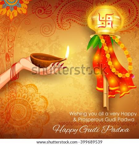 illustration of Gudi Padwa ( Lunar New Year ) celebration of India with message in Marathi Gudi Padwachi Hardik Shubhechha meaning Heartiest Greetings of Gudi Padwa  - stock vector