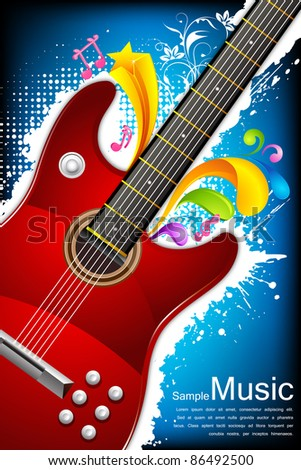 illustration of guitar on abstract grungy background - stock vector