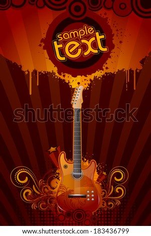 illustration of guitar with floral pattern on abstract grungy background - stock vector