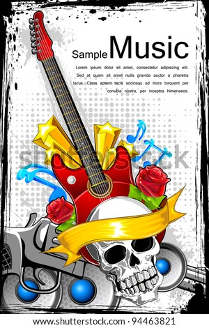 illustration of guitar with skull on abstract musical background - stock vector