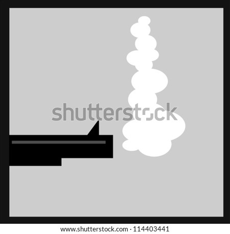 illustration of gun barrel with smoke