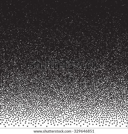 Illustration of Halftone Dotwork Style Monochrome Gradient Vector Background - stock vector