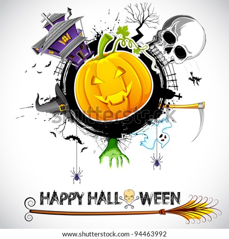 illustration of halloween card with pumpkin, skull and haunted house - stock vector