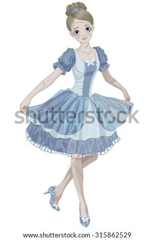 Illustration of Halloween Cinderella wearing crystal slippers - stock vector