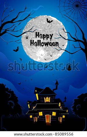 illustration of halloween haunted house in scary night - stock vector