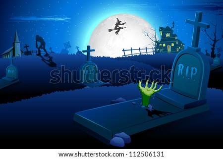 illustration of Halloween night in graveyard with mummy and flying witch - stock vector