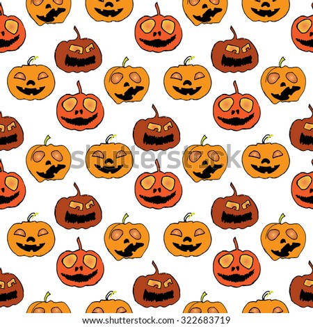 Illustration of Halloween. Seamless pattern with festive decorations. Festive pumpkin.