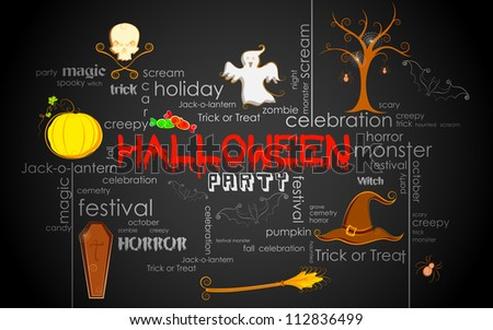 illustration of Halloween typography with different element - stock vector