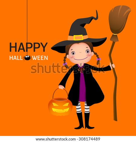 Illustration of Halloween witch cute girl with broomstick and pumpkin - stock vector