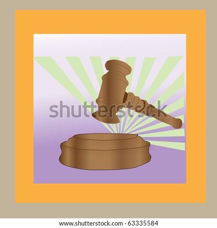 Illustration of hammers used in the courtroom - stock vector