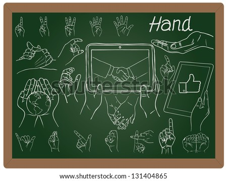 Illustration of hand collection set drawing on blackboard background vector - stock vector