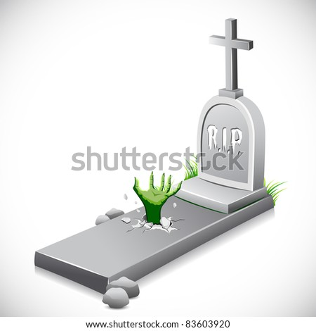 illustration of hand coming out of grave stone - stock vector