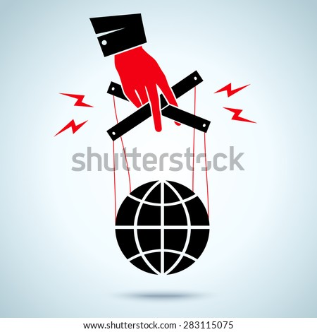 Illustration of hand controls the globe - stock vector