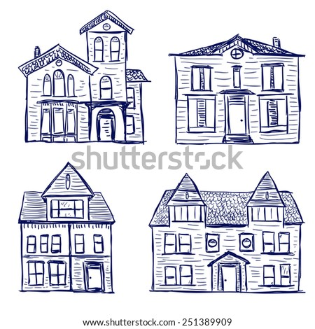 Illustration of hand drawn big village houses - stock vector