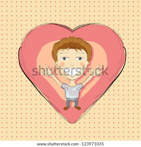 Illustration of hand drawn boy with pink heart - stock vector
