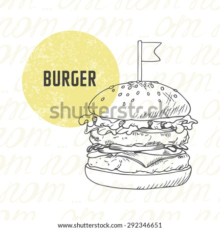 Illustration of hand drawn burger/hamburger/cheeseburger in black and white. Sketched fast food in vector - stock vector