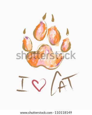 Illustration of hand drawn cat paw print - stock vector