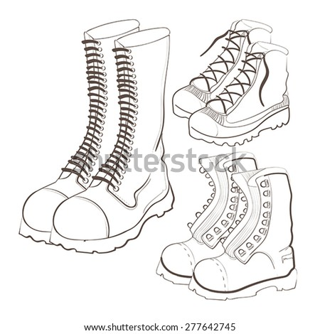 Illustration of hand drawn doodle boots icon set isolated on white background - stock vector