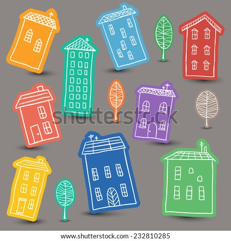 Illustration of hand drawn houses on colored background - stock vector