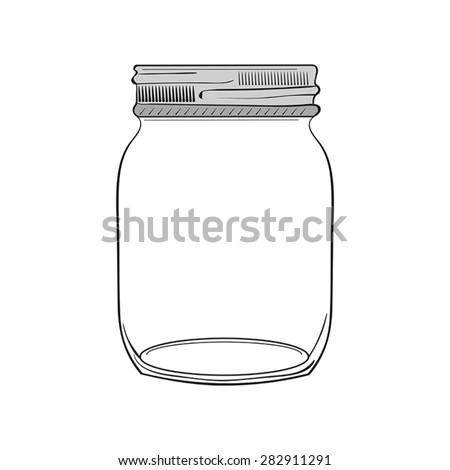 Illustration of hand drawn jar isolated on white background