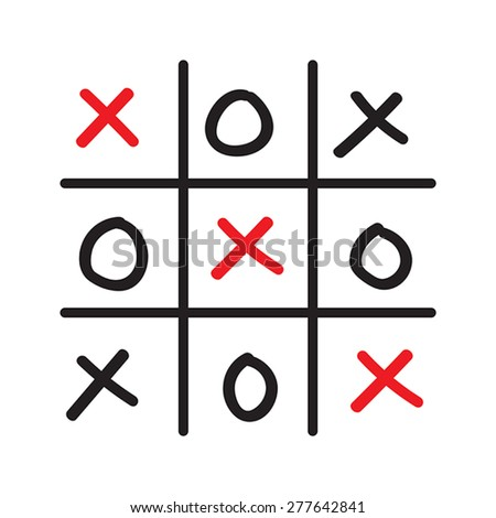 Illustration of hand drawn tic-tac-toe competition isolated on white background - stock vector