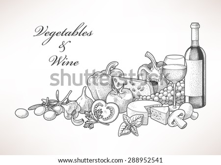 Illustration of hand drawn wine, cheese and vegetables - stock vector