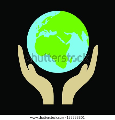 Illustration of hand holding a globe on black background. - stock vector