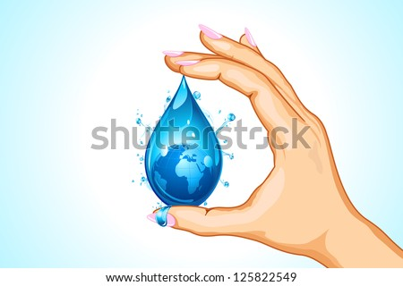 illustration of hand holding earth in water drop - stock vector