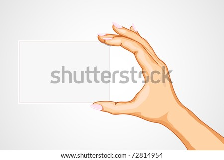 illustration of hand holding empty card on abstract background - stock vector