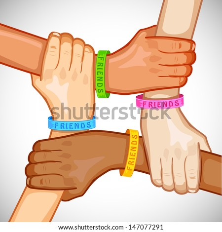 illustration of hand of multiracial people wearing friendship band - stock vector
