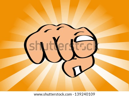 Illustration of hand pointing finger at viewer with colorful sun rays in background - stock vector