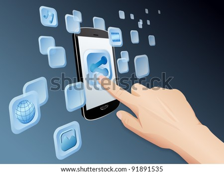 Illustration of hand pressing a share icon to share media to web with modern touch screen mobile phone. Vector EPS10 file layered, grouped and named for easy editing. - stock vector