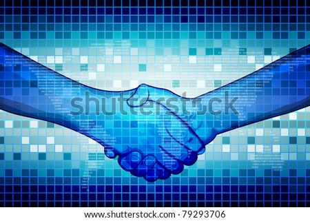 illustration of hand shake on abstract binary background - stock vector