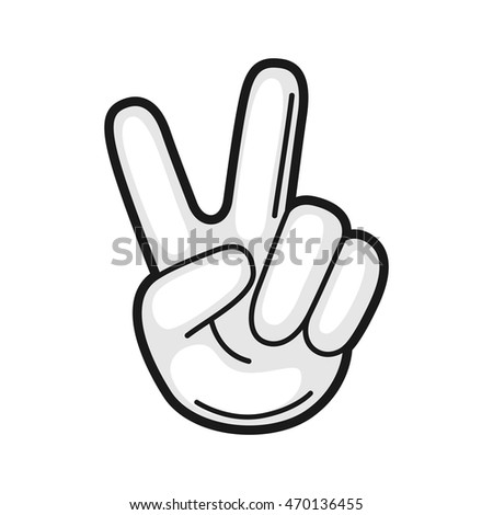 Illustration of hand victory sign gesture. Icon on white background.