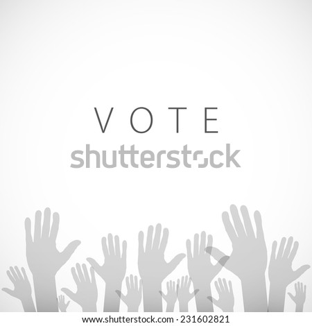 illustration of hand with voting sign of art vector - stock vector