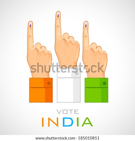 illustration of hand with voting sign of India - stock vector