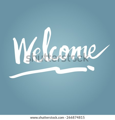 Illustration of hand writing of the word welcome - stock vector