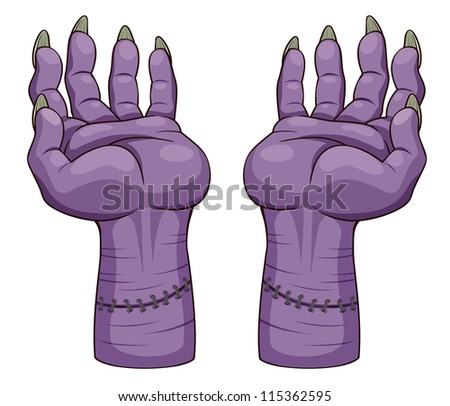 illustration of hand zombie. Vector - stock vector