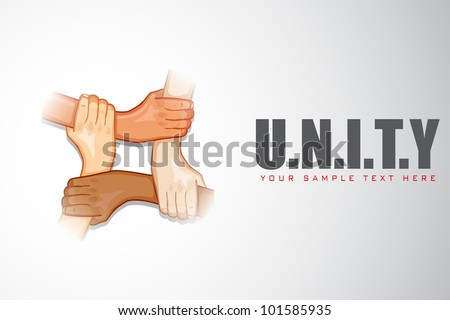 illustration of hands holding each other on motivational unity background - stock vector