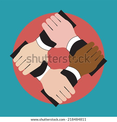 Illustration of hands holding each other showing unity - stock vector