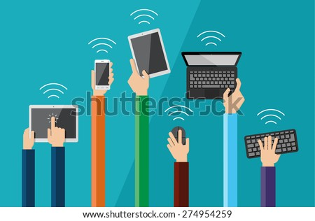 Illustration of hands holding hi tech devices. Vector set of flat hand icons holding various hi-tech computer and communication devices.  - stock vector